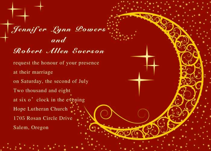 Red Moon And Stars Wedding Invition Cards Online