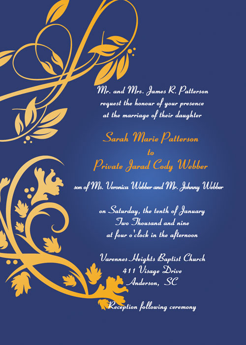 modern navy blue and gold damask wedding invitations