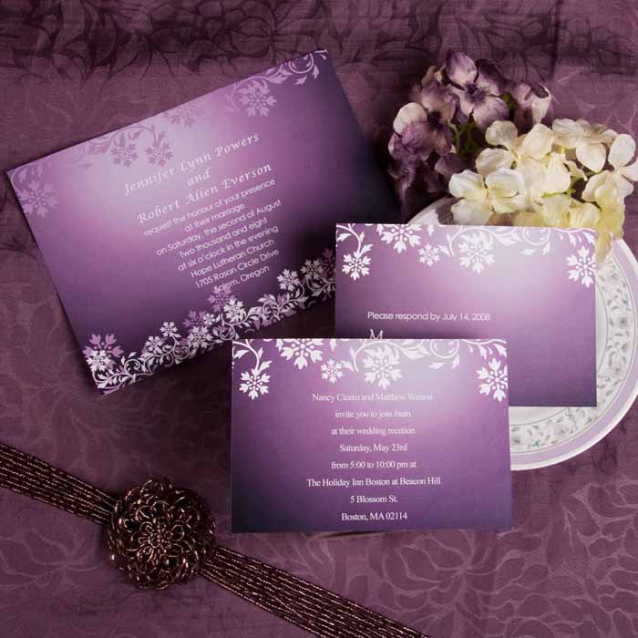 western purple wedding invitations