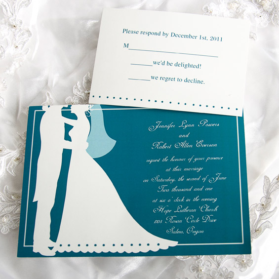 Couples Blue Wedding Invitation Cards