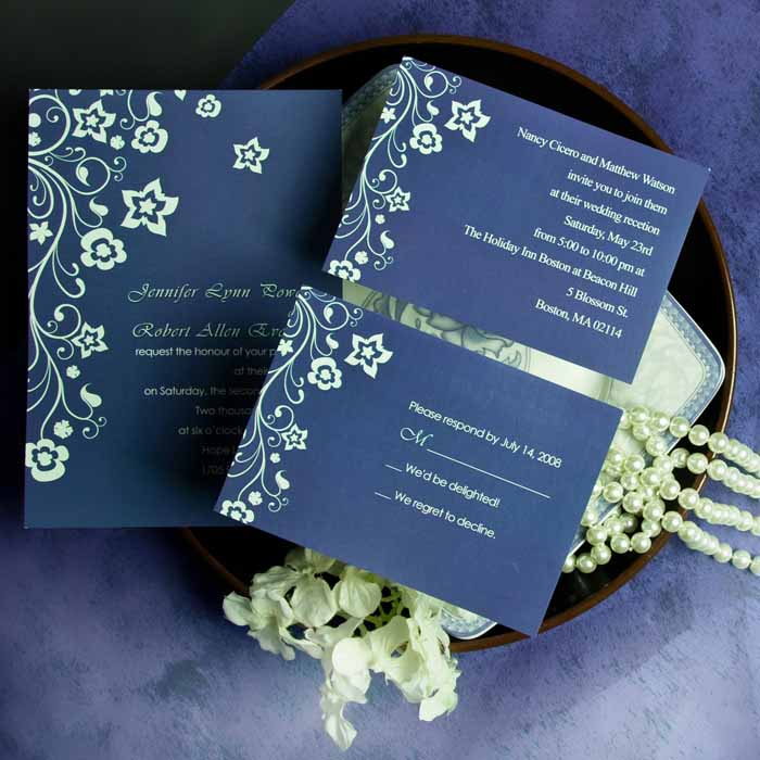 Country Floral Blue Wedding Invites