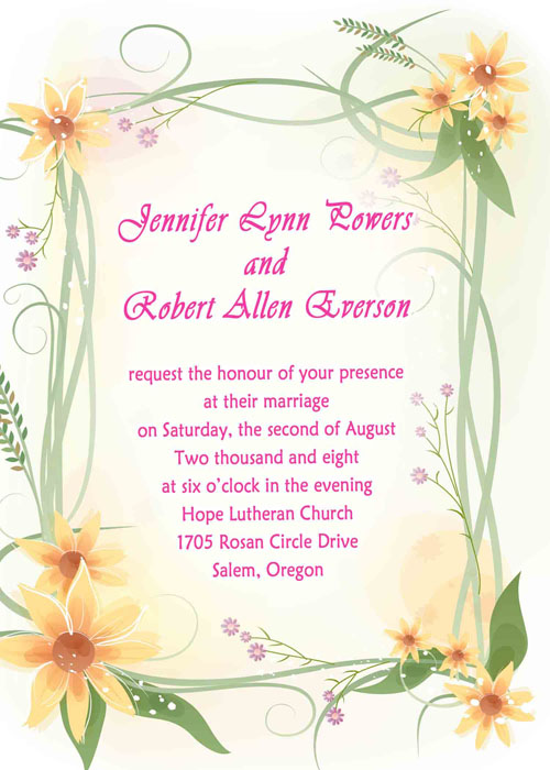Variety Beautiful Summer Wedding Invitations – Spring or Summer Theme Invitation Cards