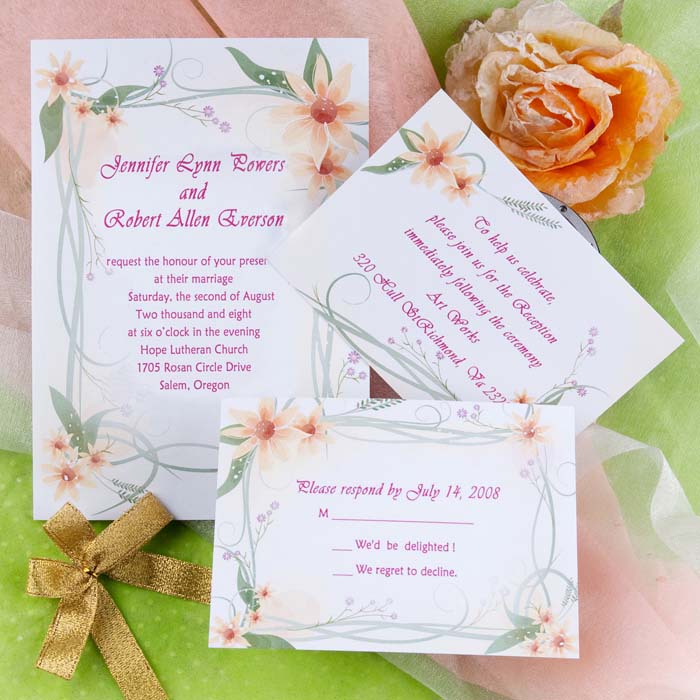 Country Floral Spring Wedding Invitations