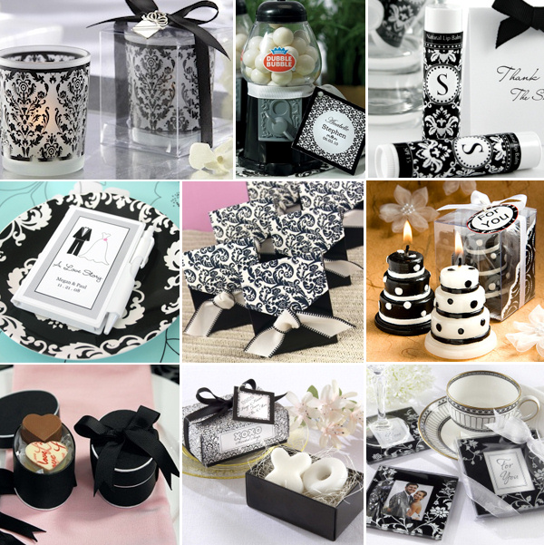 black and white wedding favors