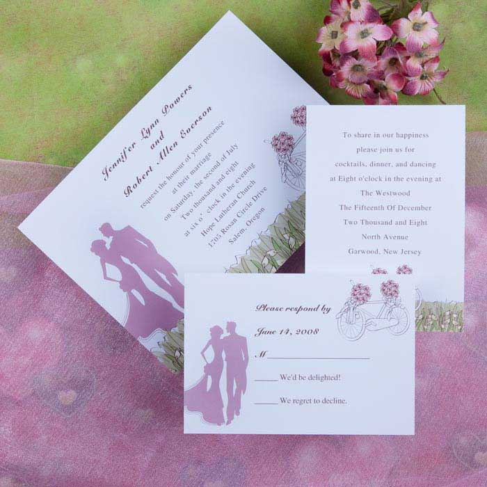 Pink and Mint Wedding Invitations