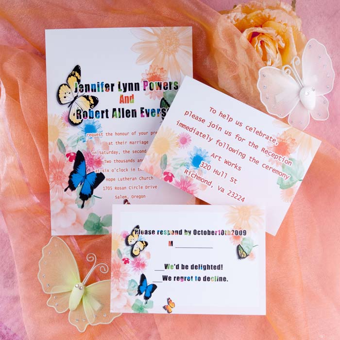 colorful flowers and butterfly wedding invitations