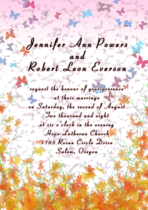 Butterfly Colorful Fall Wedding Invites