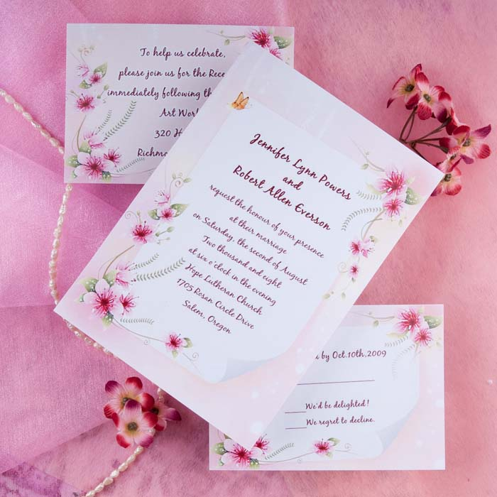 Country Pink Spring Wedding Invitations