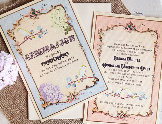 vintage love birds wedding invitations