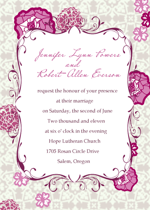 purple and pink wedding invitations and wedding ideas