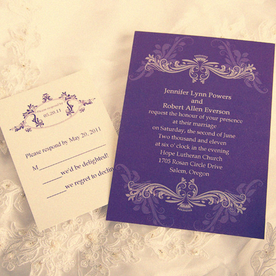 vintage purple wedding invitation