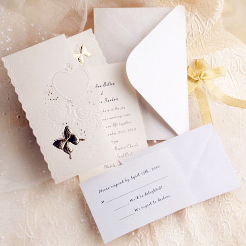 Ivory Butterfly Embossed Tri Fold Affordable Wedding Invitation