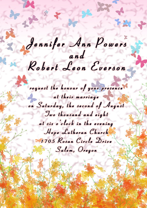 Pink and Orange Butterfly Fall Wedding Invitations