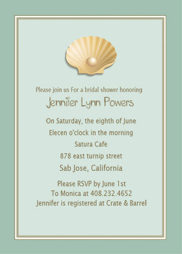 blue beach bridal shower invitations
