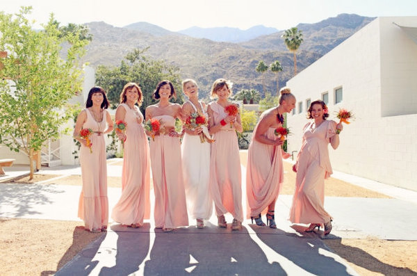 bridesmaids for pink theme weddings