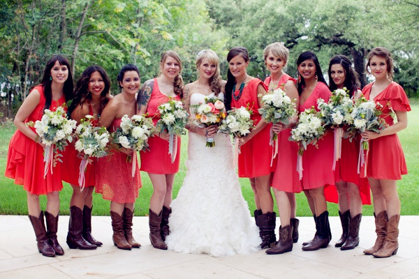 bright coral bridesmaid dresses with cowboy boots