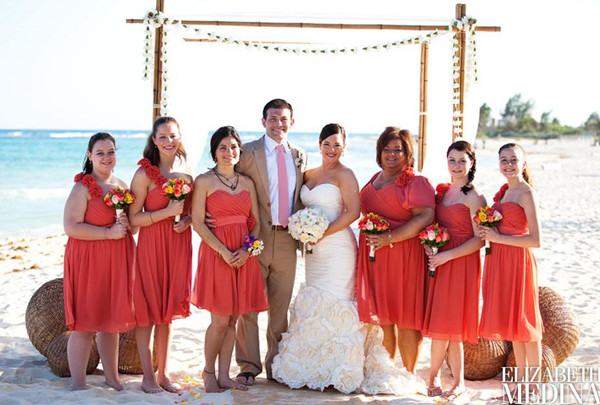 Coral Bridesmaid Dresses For Beach Weddings