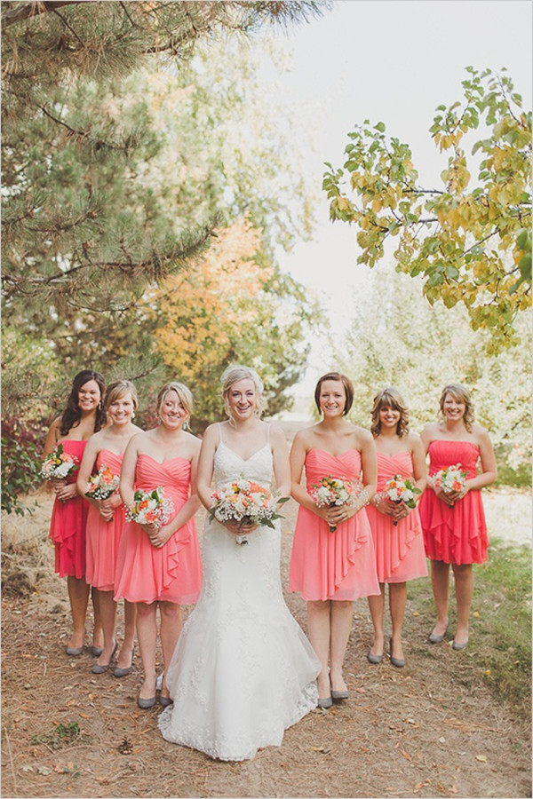 Coral Bridesmaid Dresses For Rustic Weddings
