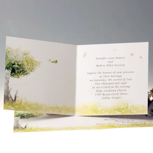 country mint green theme butterfly folded wedding invitations
