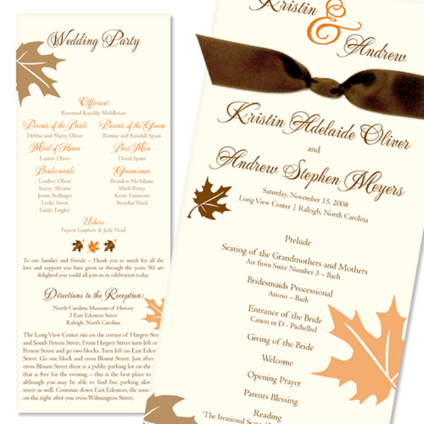 fall leaves ribbon wedding invites