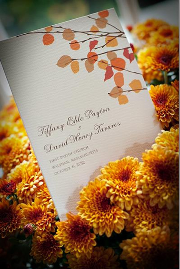 Fall Leaves Wedding Invitations For Autumn Wedding