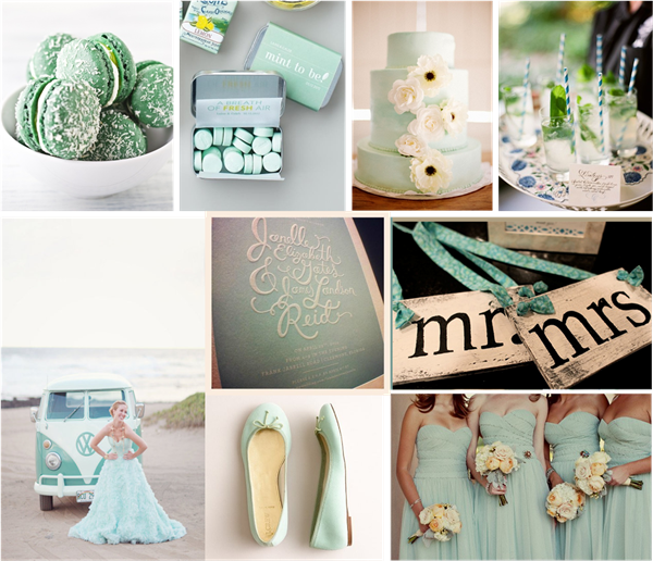 Mint Green Wedding Inspirations and Wedding Invitations