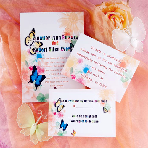 modern romantic butterfly and wedding invitations