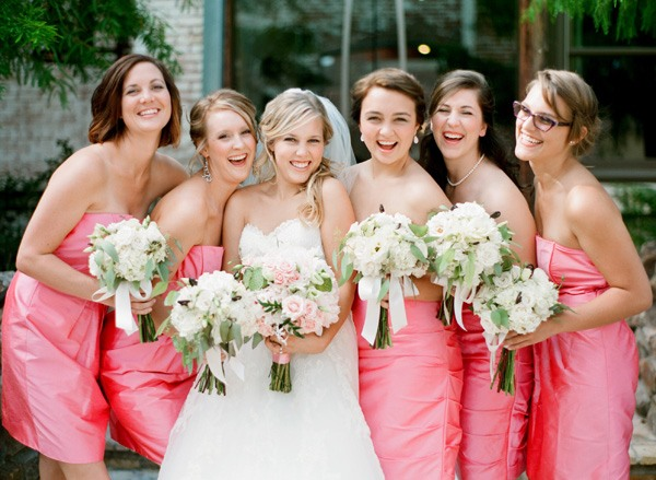 pink theme wedding bridesmaids