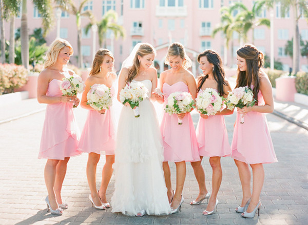 pink wedding bridesmaid dresses