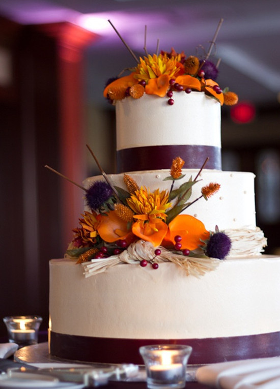 Purle And Orange Fall Wedding Cake