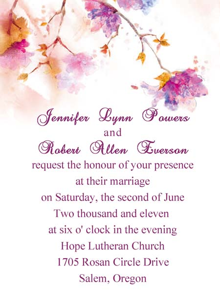 purple and orange fall wedding invitations