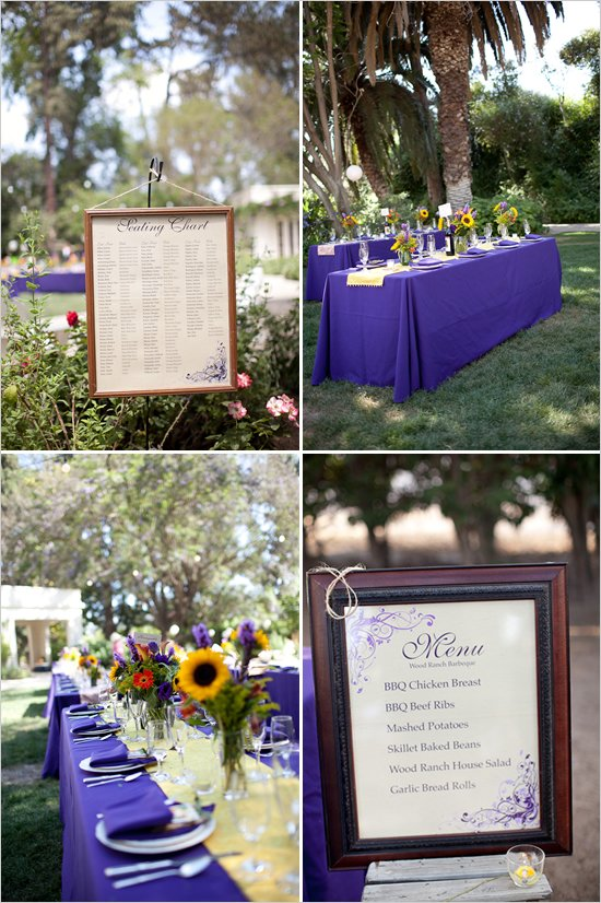 purple and orange fall wedding decorations