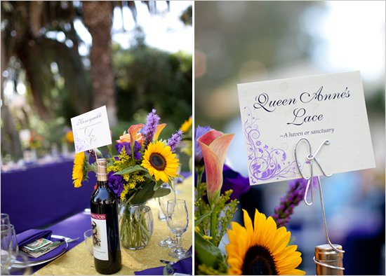 purple and orange fall wedding favors