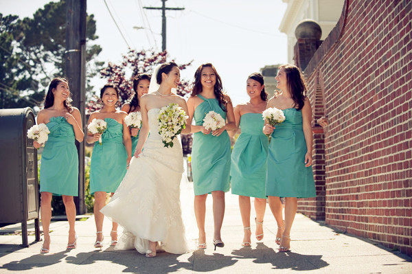 tiffany blue theme bridesmaid dress