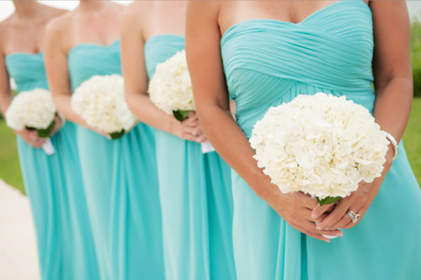 tiffany blue theme bridesmaid dresses