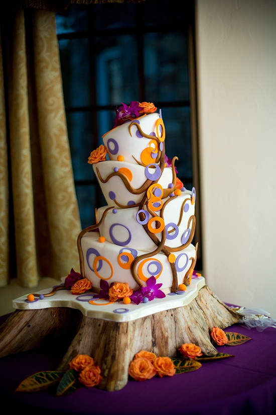 unique fall wedding cakes orange and purple