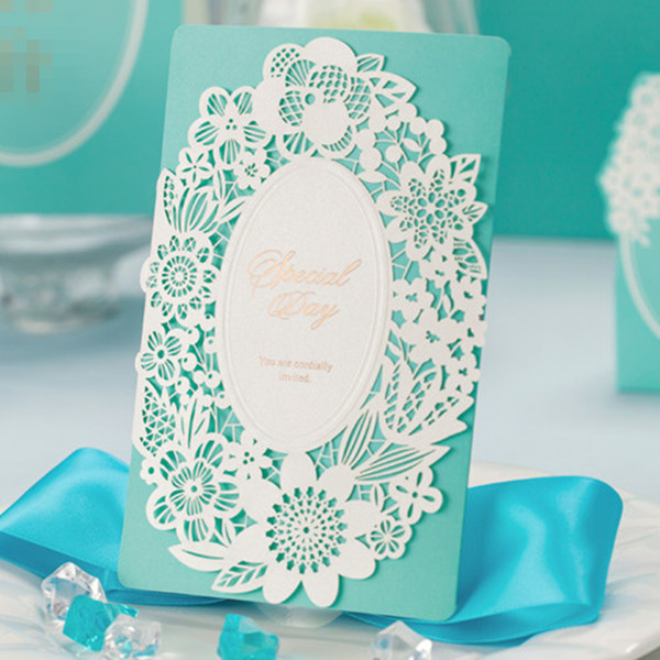 vintage chic laser cut lace tiffany blue wedding invitations EWLS0421