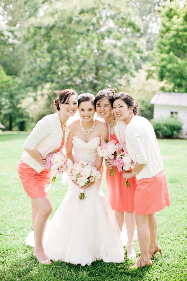 white and coral bridesmaid dresses