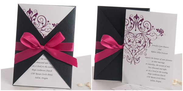 red and purple wedding invitations