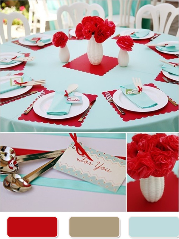 red and teal weddings