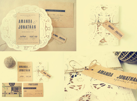 romantic lace rustic wedding invites