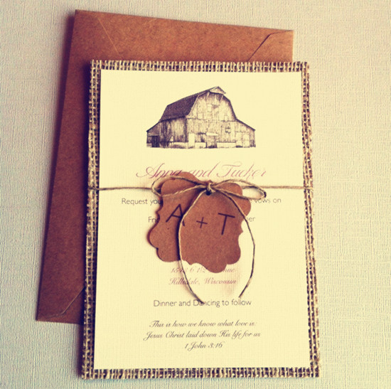 rustic wedding invitations with tags