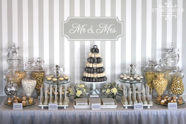 silver and white modern wedding buffet