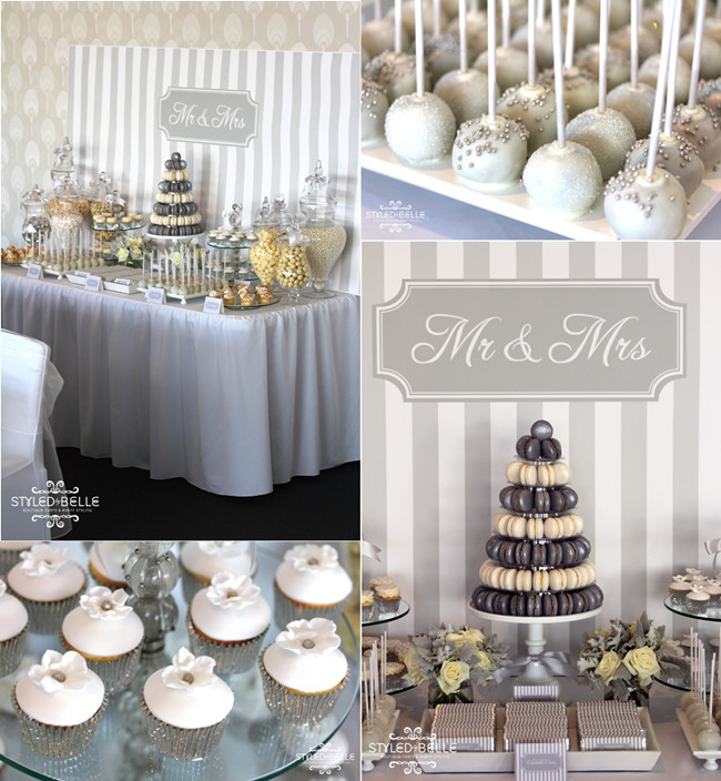 Silver And White Modern Wedding Cakes Buffet