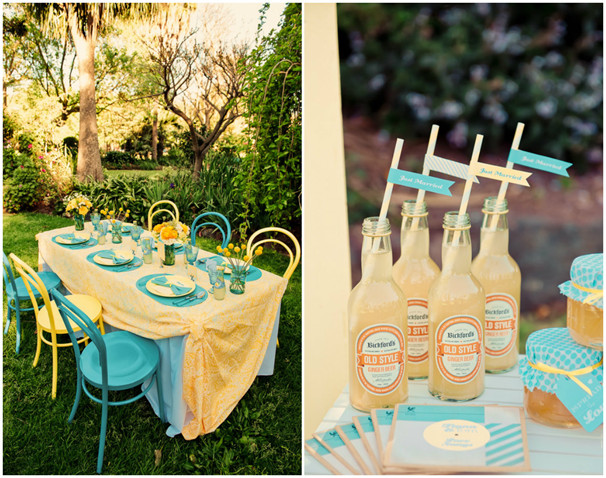 Vintage Yellow And Turquoise Summer Wedding