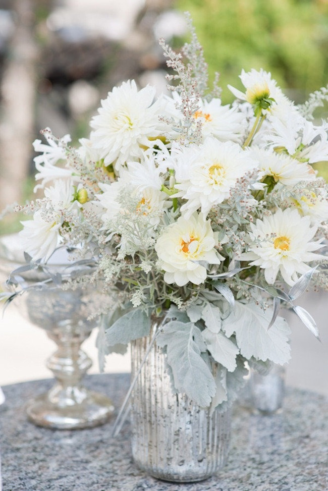 White And Silver Modern Wedding Centerpieces