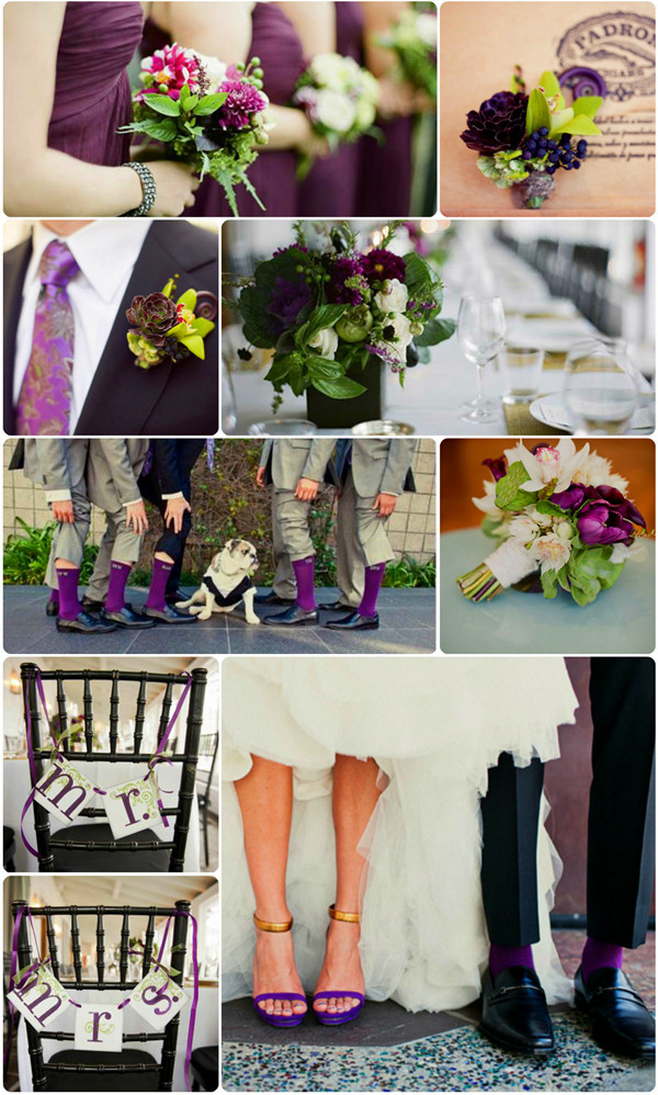 fall wedding colors-eggplant and olive