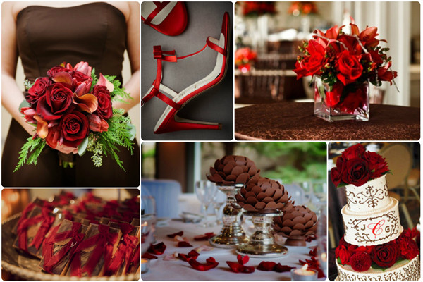 Fall Wedding Colors Red And Chocolate