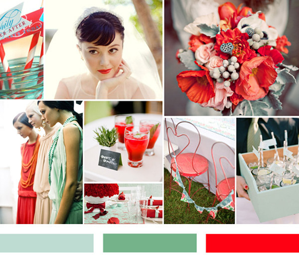 mint and red wedding ideas