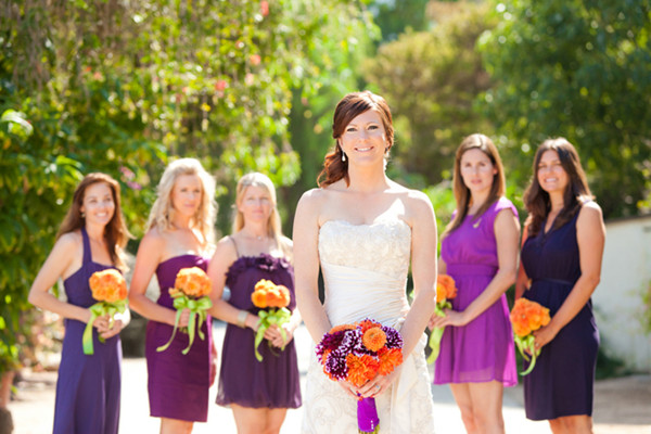 Purple And Orange Wedding Bridesmaids